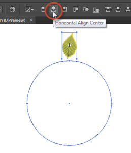 Select the circle and your shape and choose Horizontal Align Center